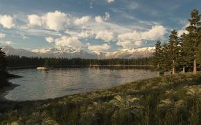 Картинка лес, деревья, горы, озеро, холмы, остров, ель, арт, островок, хвойные