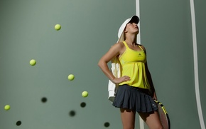 Обои мячи, теннисистка, ракетка, Caroline Wozniacki