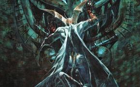 Картинка кровь, дьявол, сатана, Devilman, врата Ада, руки в крови, by Go Nagai