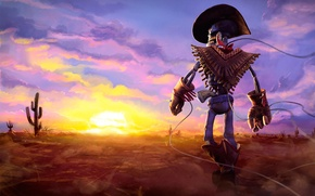 Картинка desert, sunset, background, cowboy, cactus, skeleton, gunstringer
