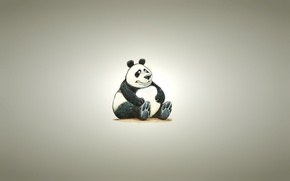 Картинка фон, минимализм, светлый, панда, сидит, panda, пухлая