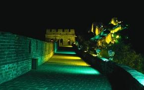 Обои Подсветка, Великая Китайская Стена, Ночь