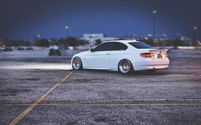 Картинка Вечер, BMW, Тюнинг, Белая, БМВ, Диски, White, E92, Stance