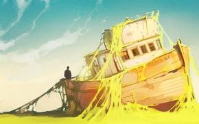 Картинка берег, корабль, art, заброшен