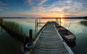 Картинка закат, озеро, отражение, лодка, причал