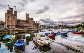 Обои caernarfon castle, harbor, уэльс, великобритания