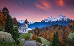 Обои закат, Баварские Альпы, Bavarian Alps, деревья, Германия, церковь, Bavaria, Germany, Mount Watzmann, церковь Мария Герн, ...