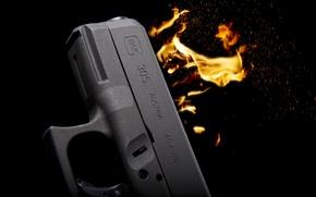 Картинка пистолет, оружие, пламя, самозарядный, Glock 30S