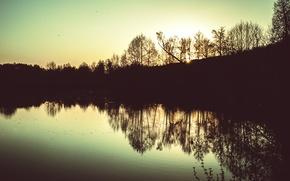 Картинка Озеро, Деревья, Пейзаж