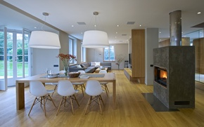 Картинка villa, luxury, fireplace, living space