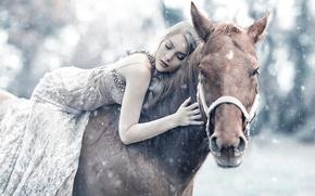 Картинка девушка, снег, лошадь, сон, Alessandro Di Cicco, Queen Maud