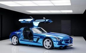 Обои mercedes, benz, sls, amg, electric, drive, blue, car, cars