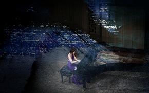 Картинка девушка, стиль, музыка, рояль