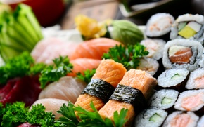 Картинка рыба, rolls, sushi, суши, fish, роллы, японская кухня, parsley, Japanese cuisine, зелень петрушки