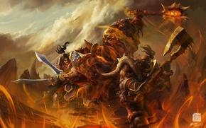 Картинка оружие, скалы, огонь, монстр, воин, арт, лава, World of Warcraft, битва, орк, wow