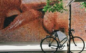 Картинка bicycle, bike, art, street, kiss, street art
