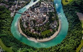 Картинка пейзаж, река, дома, Германия, Бавария, панорама, Вассербург-ам-Инн, Инн