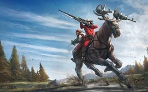 Обои оружие, винтовка, лось, арт, природа, люди, пулеметы