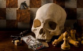 Картинка карты, стиль, ретро, череп, шахматы, винтаж, распятье, таро