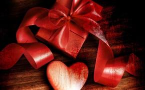 Картинка День Святого Валентина, праздник, лента, подарок, сердце