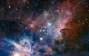Обои газ, пыль, Киль, Туманность, звезды
