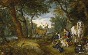 Картинка лес, собаки, лошадь, картина, олень, мифология, Ян Брейгель старший, Видение Святого Губерта