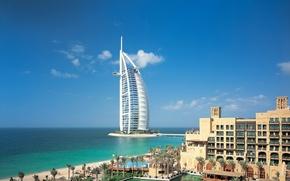 Картинка море, небо, вода, облака, город, река, здание, Dubai, дубай, Объединённые Арабские Эмираты