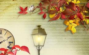 Картинка осень, листья, свет, коллаж, часы, фонарь
