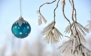 Картинка небо, снег, новый год, рождество, шарик, украшение