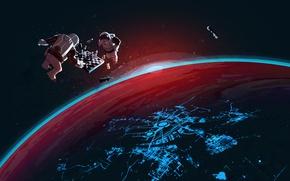 Обои комонавт, шахматы, космос, steam, стим