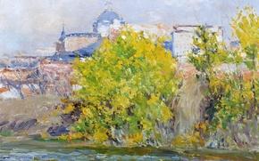 Картинка осень, деревья, пейзаж, город, дома, картина, купол, Берег Мансанарес, Aureliano de Beruete y Moret