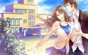 Обои девушка, ветер, парень, школа, art, sukiblog