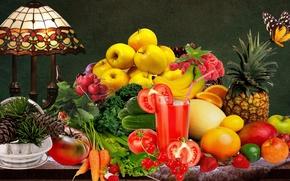 Картинка цветы, ваза, фрукты, Натюрморт, кедровые шишки