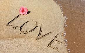 Обои sand, love, beach, любовь, пляж, romantic, песок