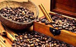 Картинка кофе, кокос, палочки, шкатулка, корица, зёрна, Coffee, кофейные, coconut, cinnamon, coffee beans, casket, бобы, sticks
