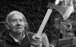 Картинка axe, woman, angry, grandmother