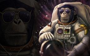 Картинка трещины, юмор, наушники, скафандр, очки, обезьяна, шлем, банан, шимпанзе