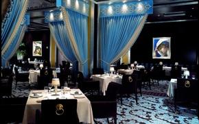 Картинка стиль, цветы, дизайн, красота, роскошь, интерьер, фужеры, романтика, шторы, комфорт, цвет, зеркала, бокалы, голубой, кресла, ...