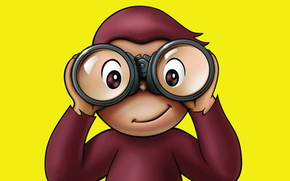Картинка игра, очки, обезьянка, Curious George 2