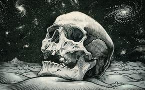 Картинка космос, звезды, череп, skull