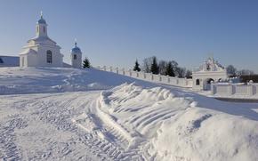 Обои зима, настроение, монастырь