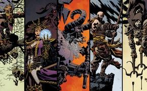Картинка арт, Diablo 3, demon hunter, monk, mage, barbarian, witch doctor