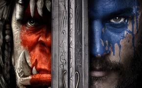 Обои Action, Anduin Lothar, Face, Fangs, Entertainment, Oaint, Tusks, Dye, Frostwolf, Blue, Warcraft, Travis Fimmel, Commander, ...