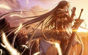 Обои воин, рассвет, меч