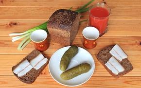 Картинка стакан, лук, хлеб, натюрморт, томат, огурцы, сало