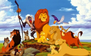 Обои обезьяна, тимон, король лев, пумба, нала, симба, тимон и пумба, гиены
