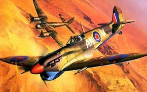 Картинка war, art, airplane, painting, aviation, ww2, Supermarine Spitfire Mk.Vb Trop