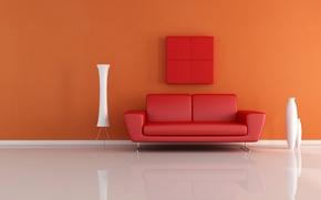 Картинка дизайн, диван, интерьер, минимализм, вазы