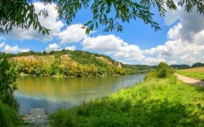 Обои Германия, трава, берег, деревья, Oberndorf, зелень, лето, солнце, небо, ветки, река, облака