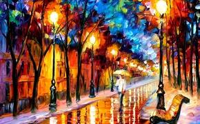 Обои картина, масло, скамейка, дорога, фонари, зонт